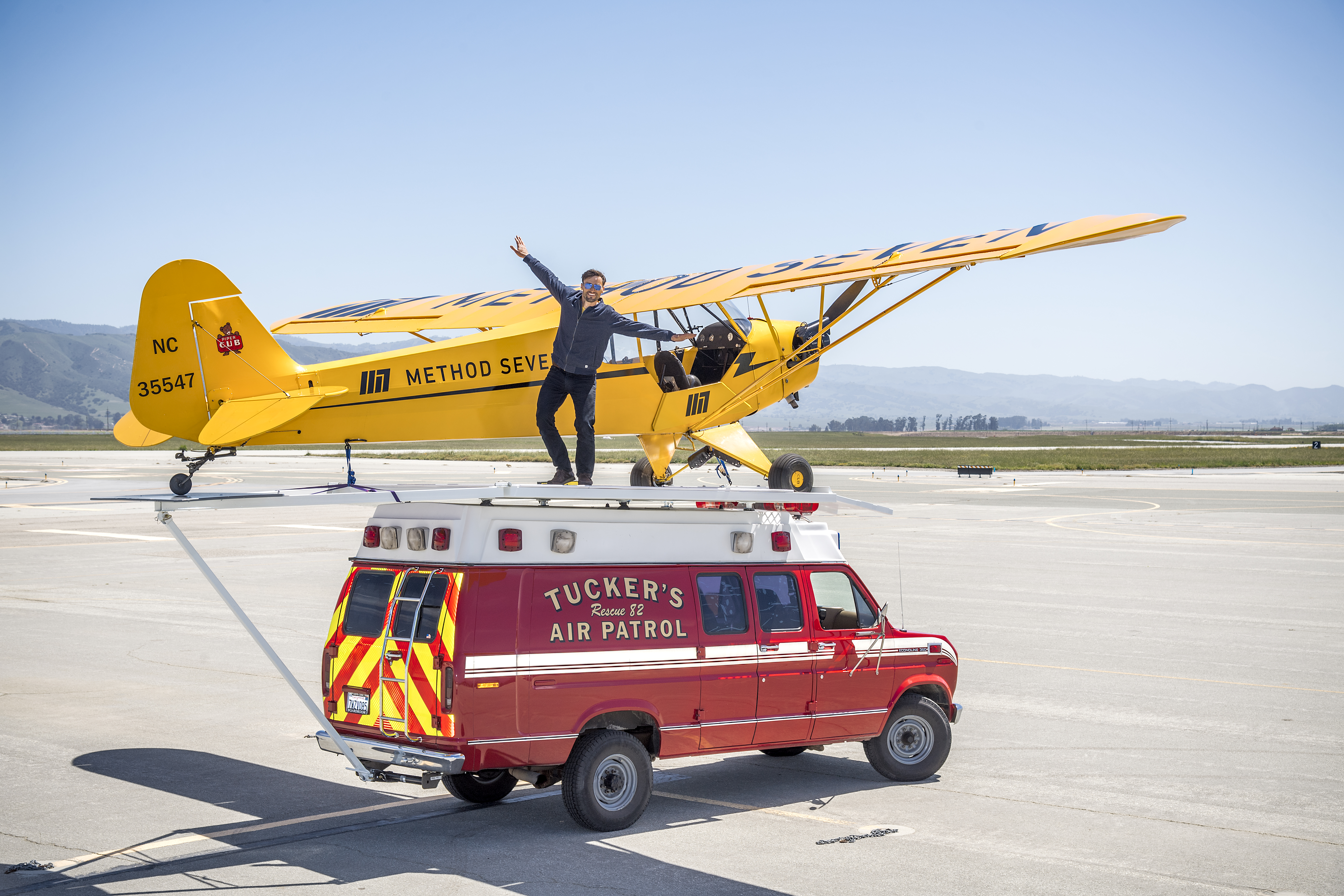 Stunt pilot Eric Tucker celebrating a successful landing.